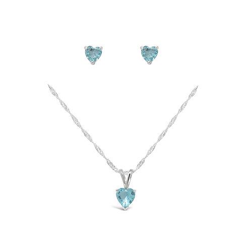 Silver Heart Necklace Set - Topaz