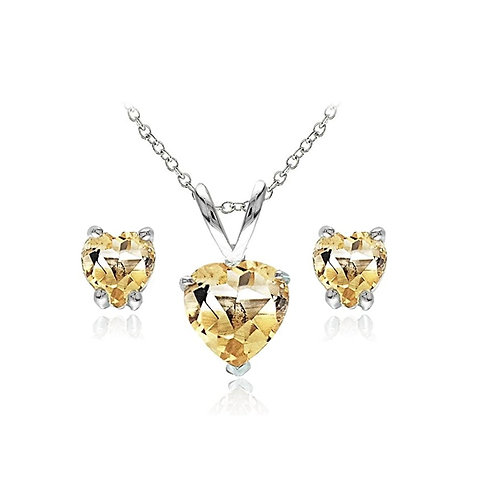 Silver Heart Necklace Set - Citrine