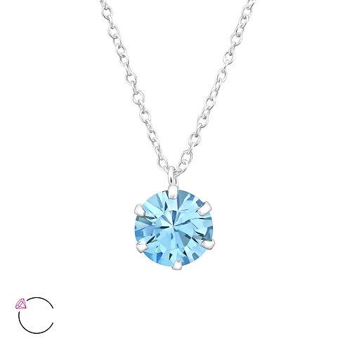 Silver Round La Crystale Necklace - Aqua Crystal