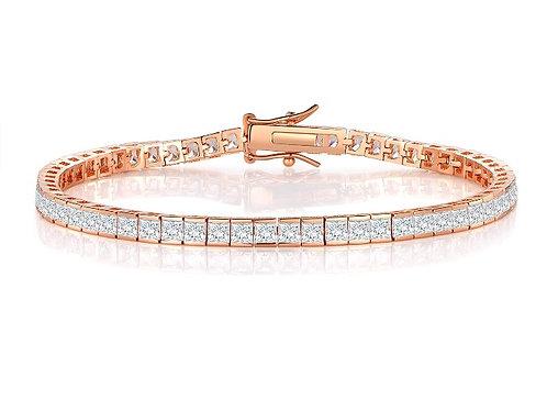 Silver Ice Cube Tennis Bracelet - Rose Gold