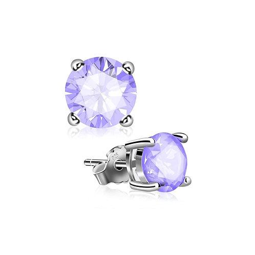 Silver Round Birthstone Earrings - June (Alexandrite)