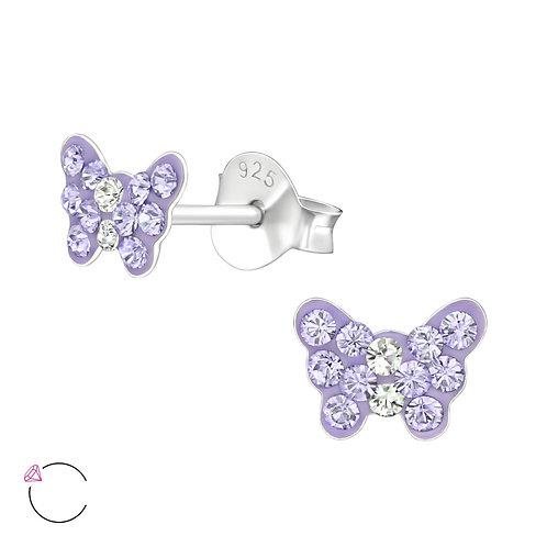 Crystal Butterfly Earrings - Purple