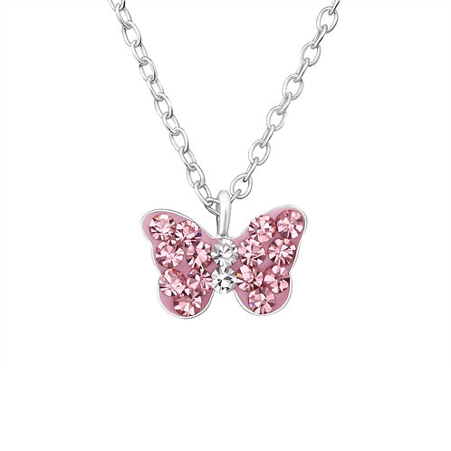 Crystal Butterfly Necklace - Pink