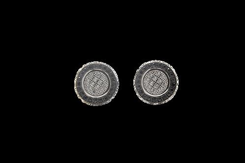 Circle CZ Earrings 2 Tone - Black, Silver