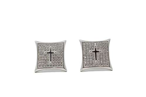 Cross Earrings - Silver