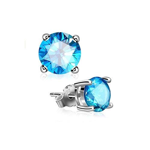 Silver Round Birthstone Earrings - December (Blue Topaz)