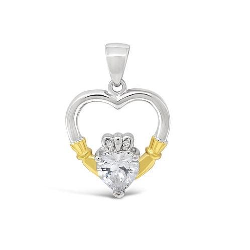 Claddagh Heart Stone - Clear Zirconia