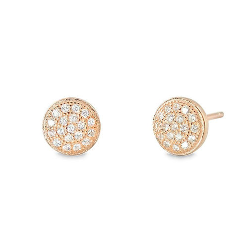 Round Disc Mini Pave Earrings - Rose Gold