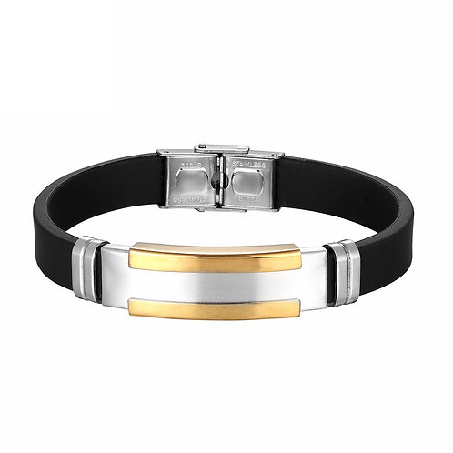 Stainless Steel Silicone Bracelet - Gold