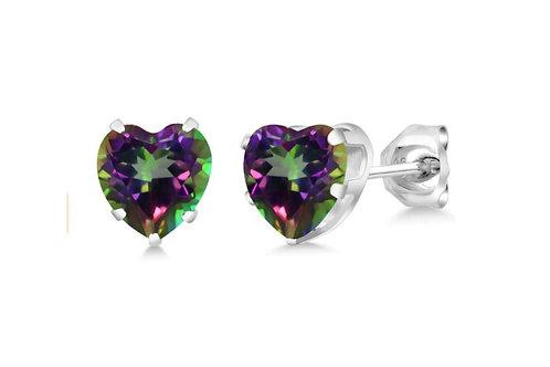 Silver Heart Birthstone Earrings - Rainbow CZ