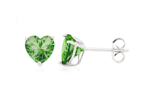 Silver Heart Birthstone Earrings - August (Peridot)