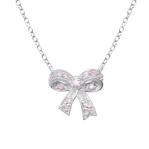 Silver Bow Necklace - Pink CZ