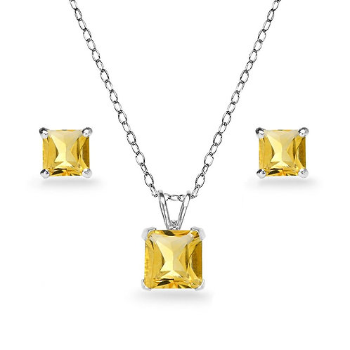 Silver Square Solitaire Necklace Set - Citrine