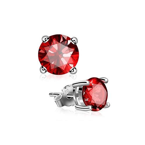 Silver Round Birthstone Earrings - January (Garnet)