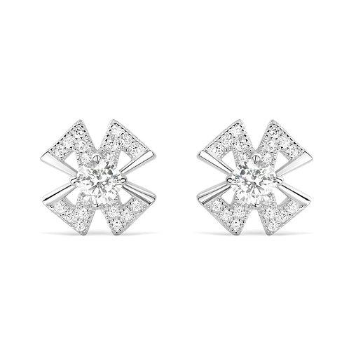 Cross Leaflet Earrings - Silver