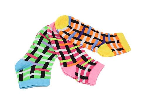 Women's Low Cut Woven Stripe Socks - Asst 2