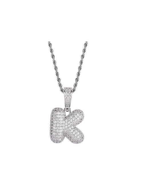 """Stainless Steel Bubble Initial """"K"""" - Silver"""