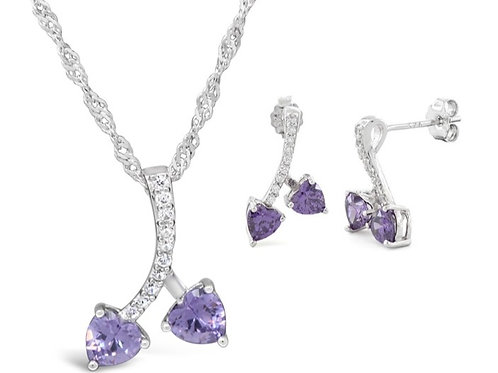 Silver Cherry Hearts Necklace Set - Amethyst