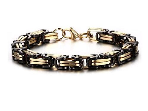 Steel Byzantine Bracelet - Gold/Black