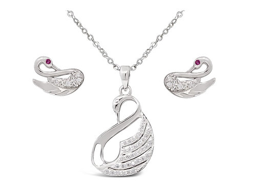 Silver Swan Necklace Set