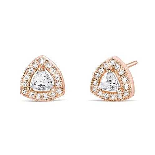Trillion CZ Earrings - Rose Gold