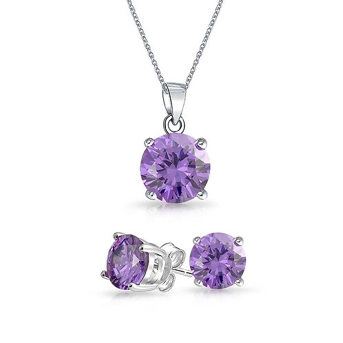 Silver Round Solitaire Necklace Set - Amethyst