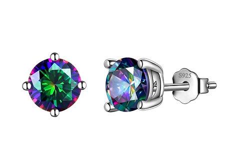 Silver Round Birthstone Earrings - Rainbow CZ