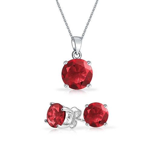 Silver Round Solitaire Necklace Set - Ruby