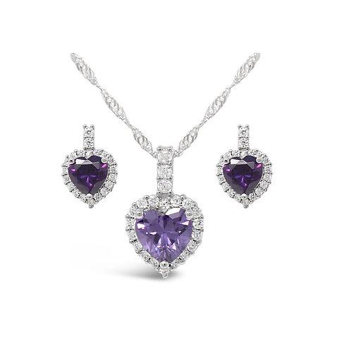 Luxury Heart Necklace Set - Amethyst