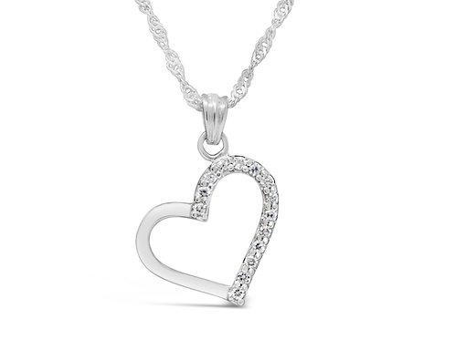 Silver Half CZ Heart Necklace