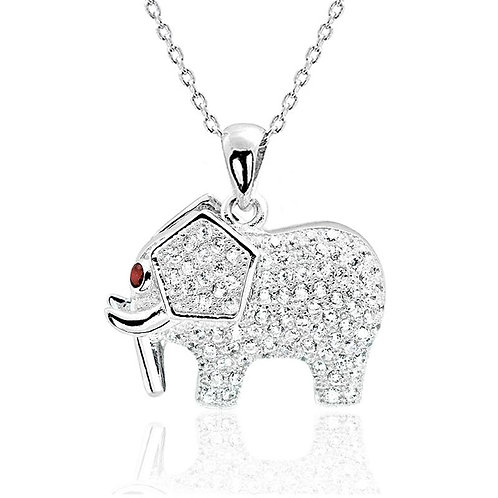 Red Crystal Silver Elephant Necklace