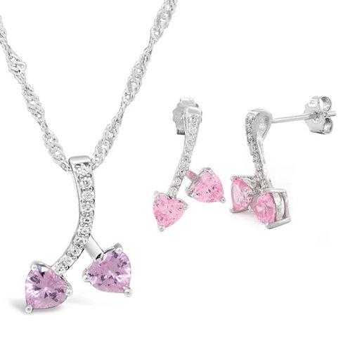 Silver Cherry Hearts Necklace Set - Pink Tourmaline