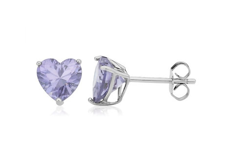 Silver Heart Birthstone Earrings - June (Alexandrite)