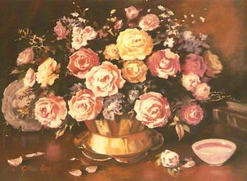 Roses in Bronze Vase