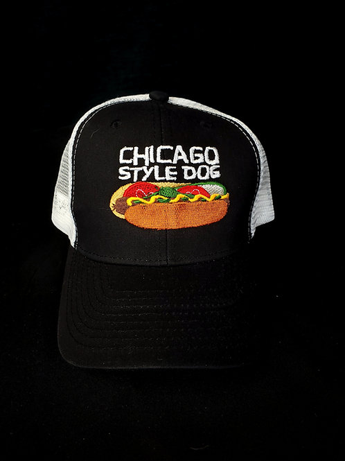 Chicago Style Hot Dog Black and White Trucker Hat