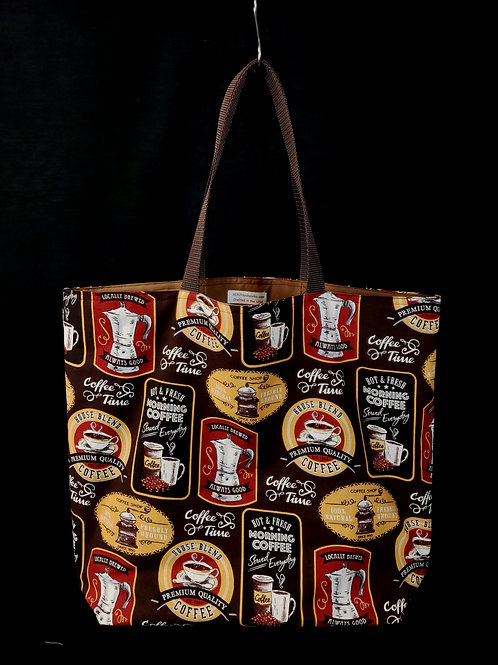 Coffee Reusable Gusseted Market Bag