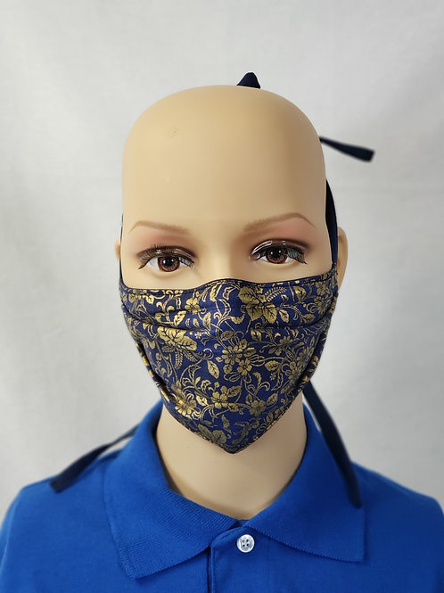 Shimmery Gold Navy Cloth Face Covering