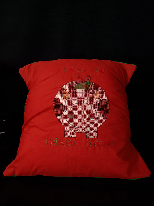 Reindeer Tryouts Fail Pillow