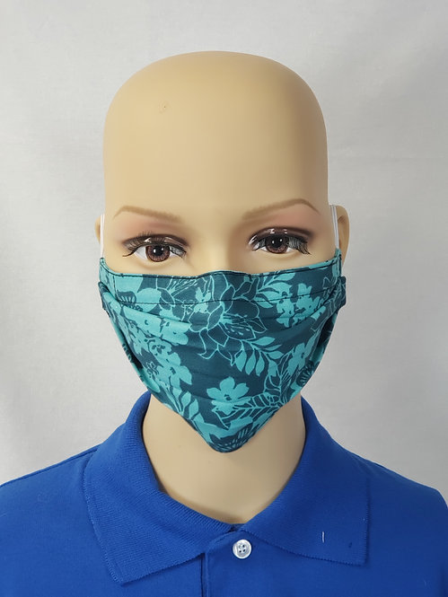 Teal Floral Cloth Face Covering