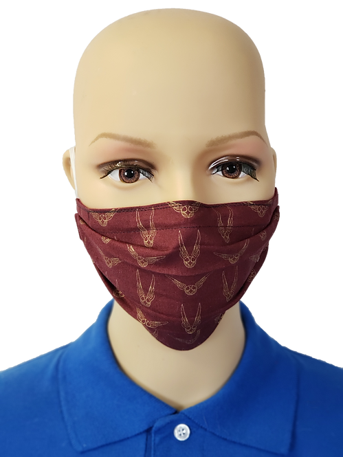 Cloth Face Covering made from Harry Potter Golden Snitch fabric