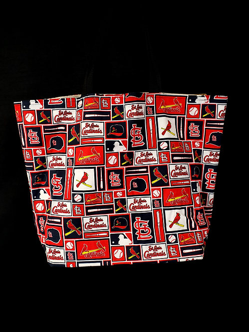 Reusable Gusseted Market Bag Made With St. Louis Cardinals Fabric