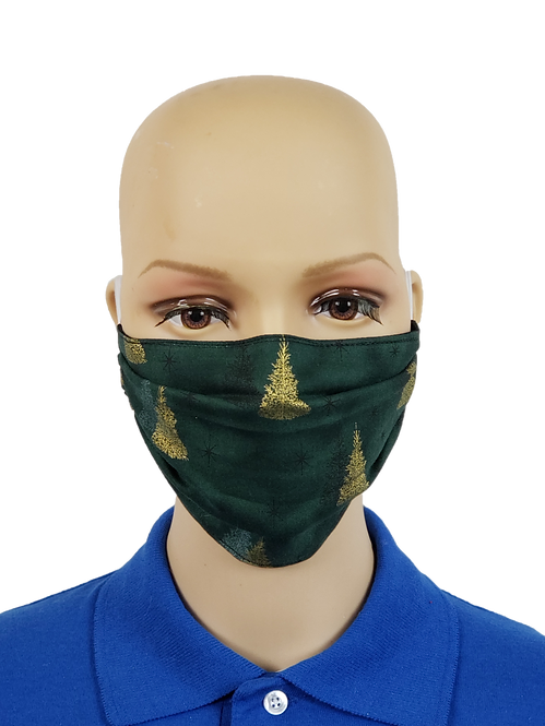Shimmery Golden PineTrees Cloth Face Covering