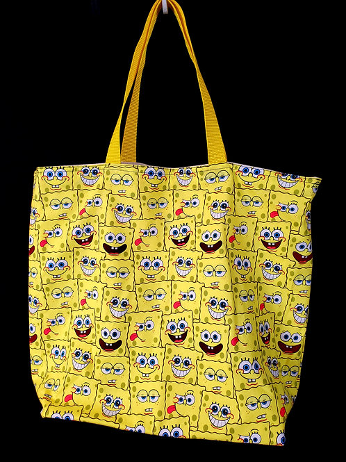 Reusable Gusseted Market Bag Made With Spongebob Fabric