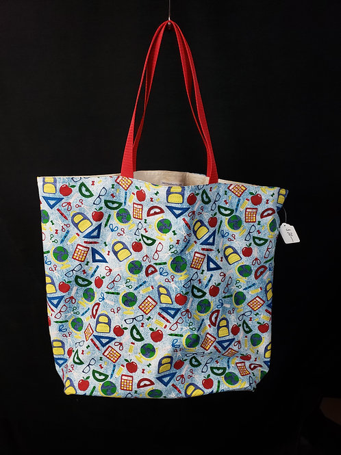 School Supplies Reusable Gusseted Market Bag