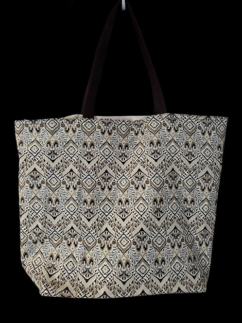 Brown & Tan Reusable Gusseted Market Bag