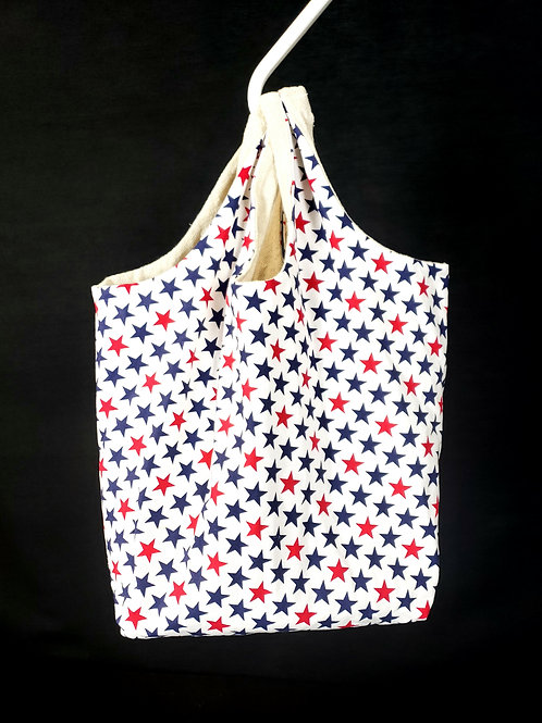 Red and Blue Stars Reusable Shopping Bag