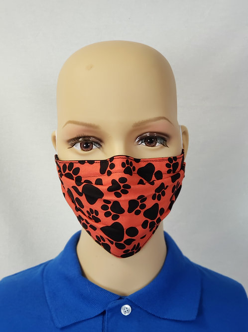Red Pawprints Cloth Face Covering