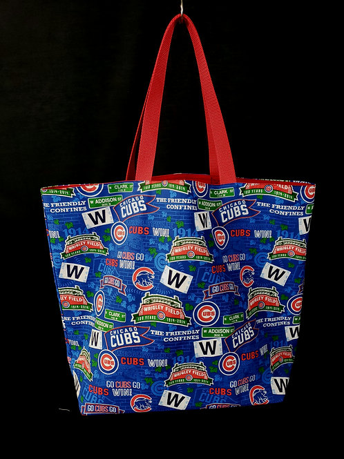 Reusable Gusseted Market Bag Made With Wrigley Field Cubs Fabric