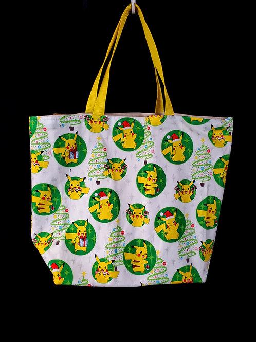 Reusable Gusseted Market Bag Made With Christmas Pikachu Fabric