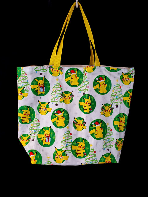 Reusable Gusseted Market Bag Made With Christmas Pikachu Fabric